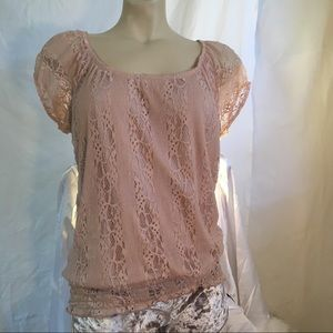 Lavish lace top with cap sleeves